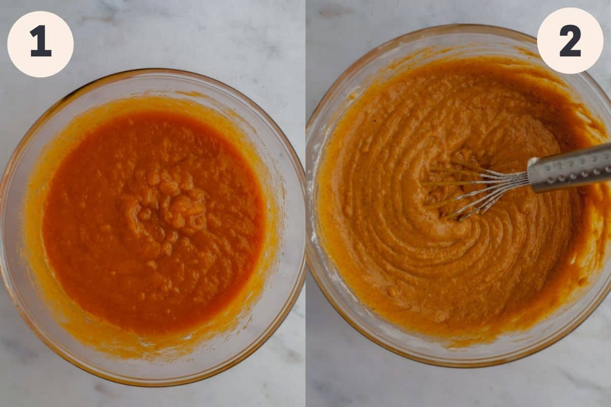 two pictures, the first shows a glass bowl with pumpkin batter in it, and the second has pumpkin bread batter with a whisk