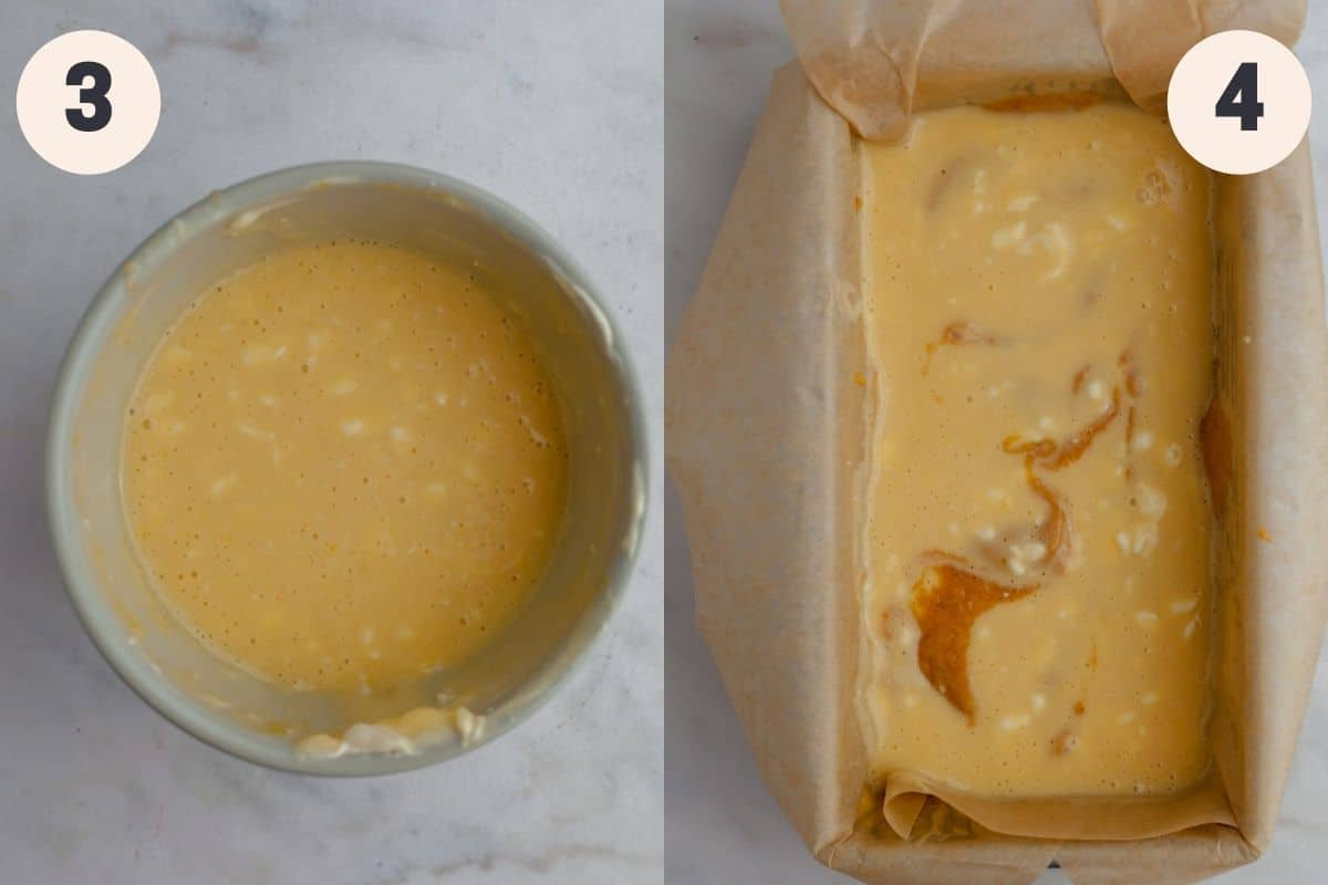 2 images, the first shows a small grey bowl with cheesecake batter, the second shows a loaf pan with the cheesecake batter in the pan