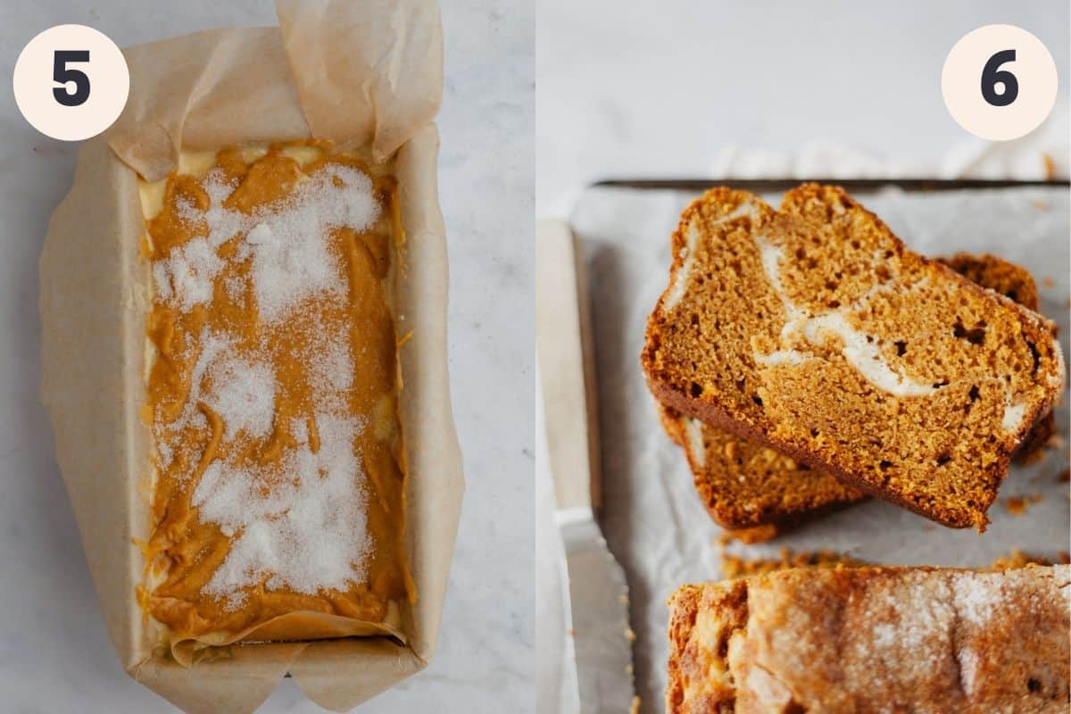 two images, the first shows a loaf pan with unbaked pumpkin bread, the second shows several slices of baked pumpkin bread
