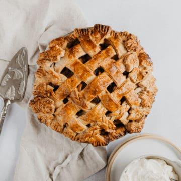 overhead shot of lattice woven apple pie