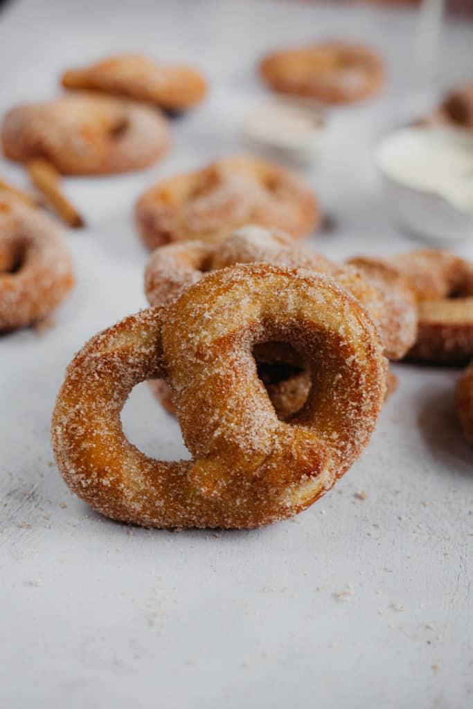 close up of a soft pretzel
