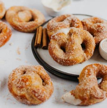 overhead shot of soft cinnamon sugar pretzels