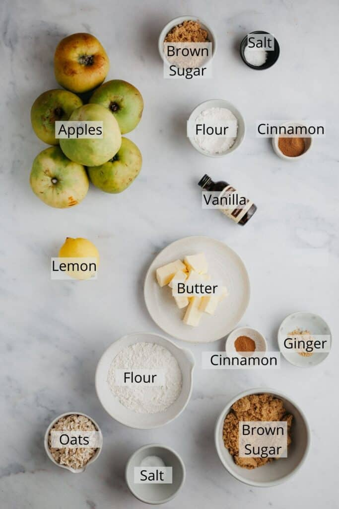 Visual ingredient list for making apple crumble