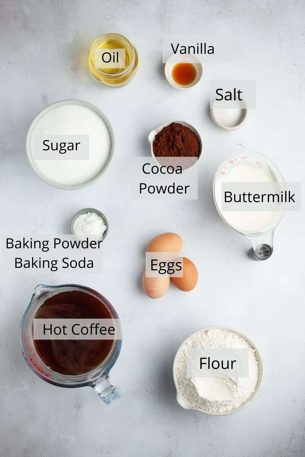 Ingredients needed for a chocolate cake