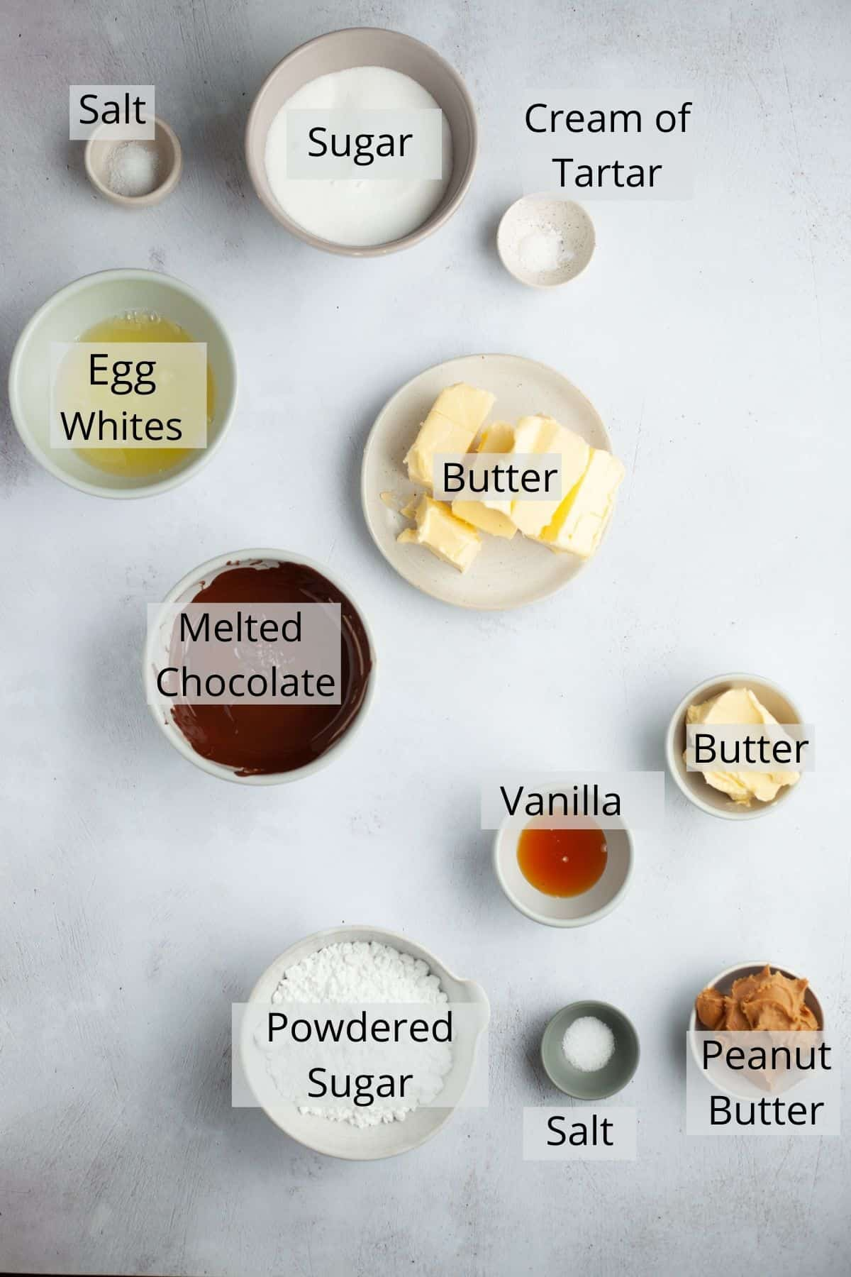 Ingredients needed for chocolate frosting and peanut butter filling