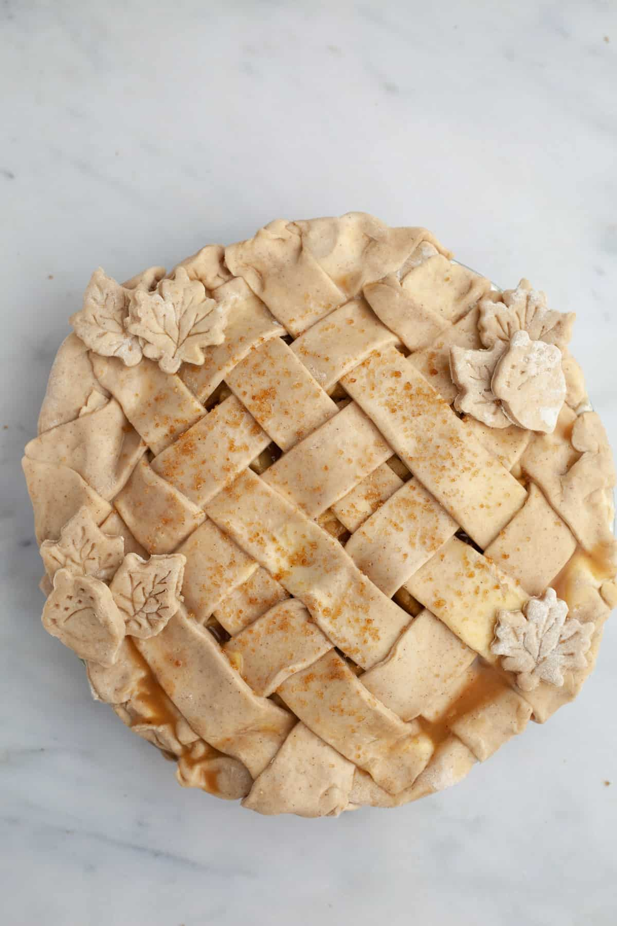 An unbaked lattice covered pie