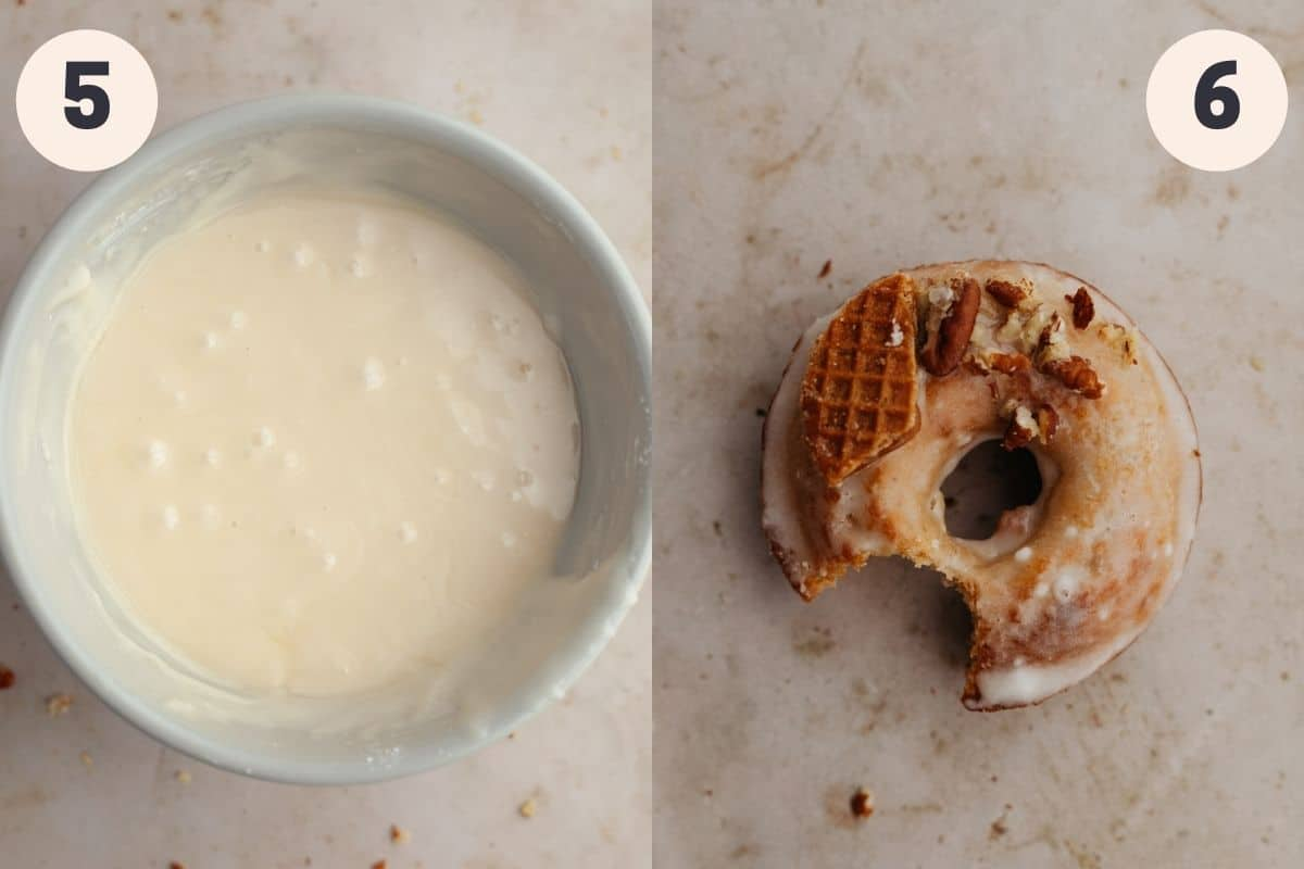 2 images, first is a bowl with maple glaze, second is a glazed donut with a bite taken out