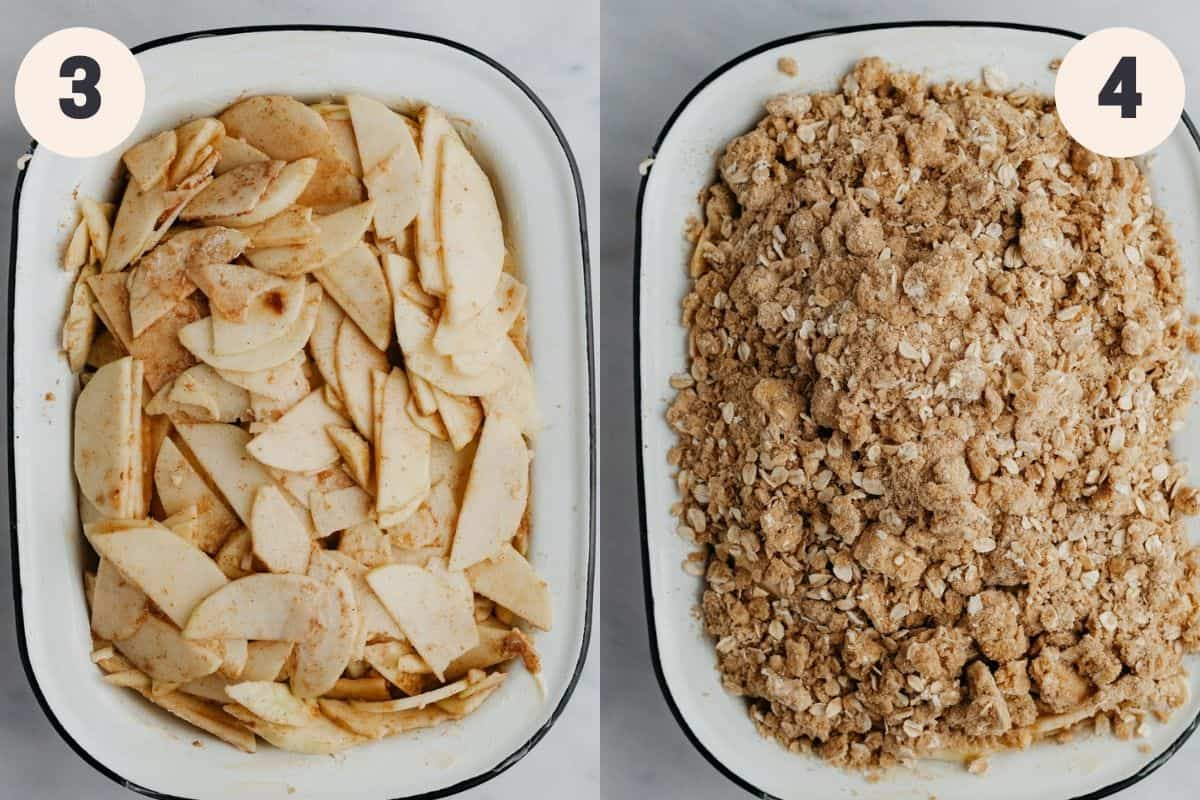 2 images, the first shows a rectangular baking pan with sliced apples in it, the second shows the same pan covered in oat crumble