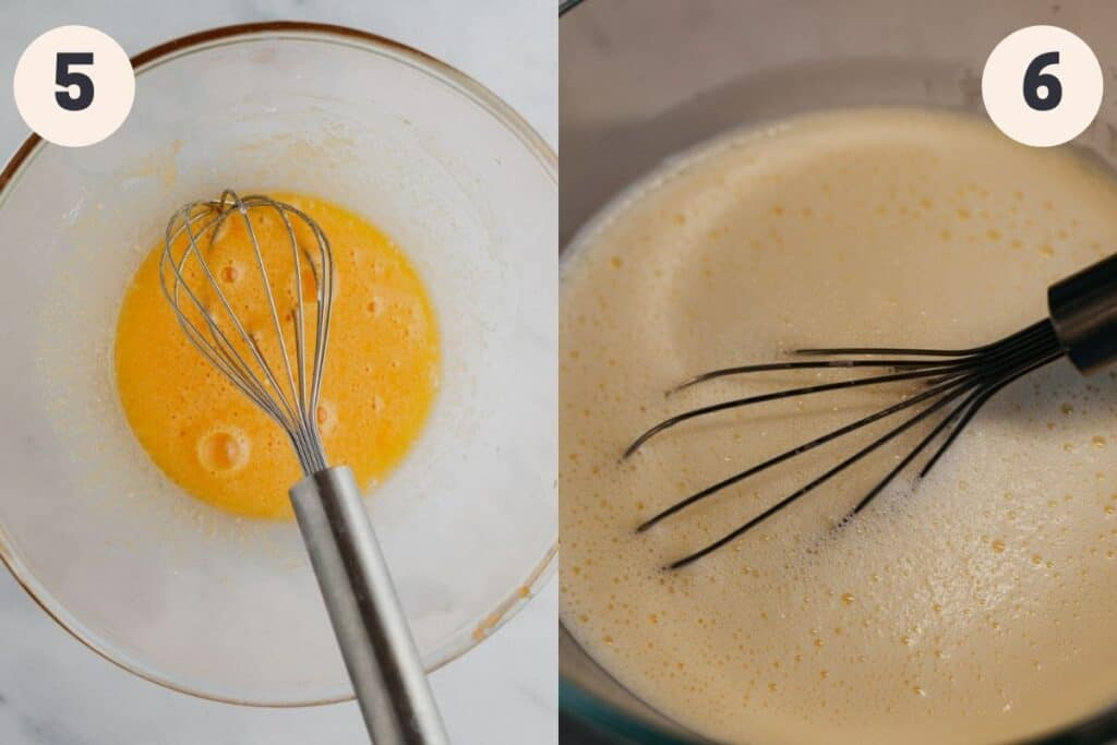 A bowl with whisked egg yolks, then another image of the same bowl with custard in it