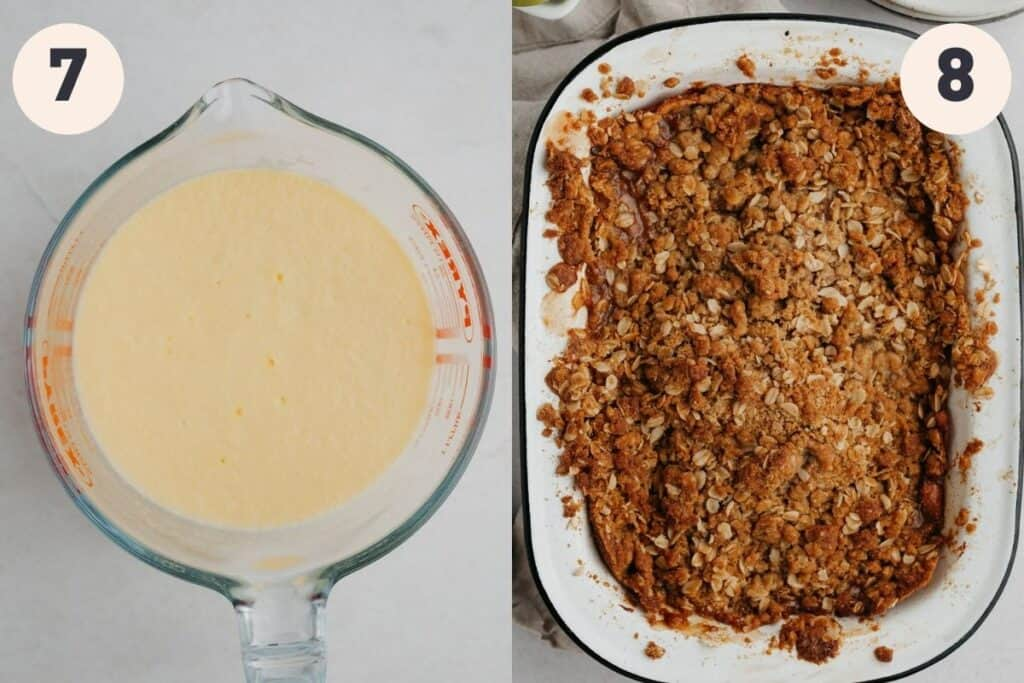 A jug of vanilla custard, then an enamel rectangular pan filled with baked apple crumble