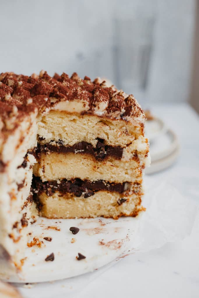Close up of a tiramisu layer cake