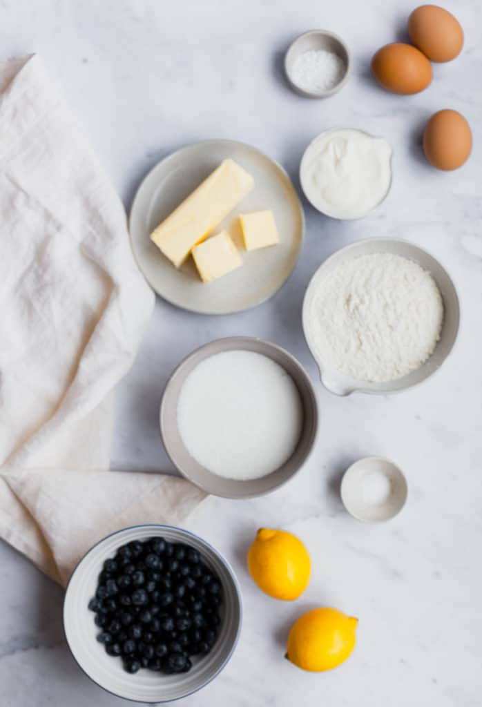 overhead view of ingredients for pound cake
