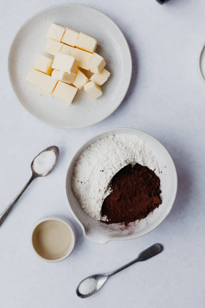 ingredients for a chocolate pie crust