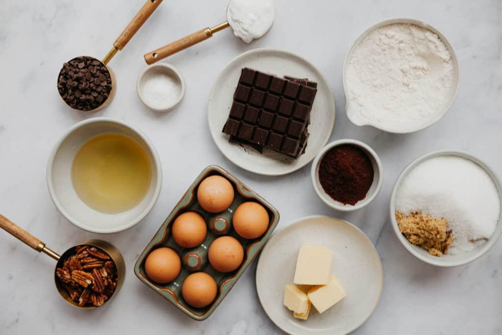 Overhead view of rocky road brownie ingredients