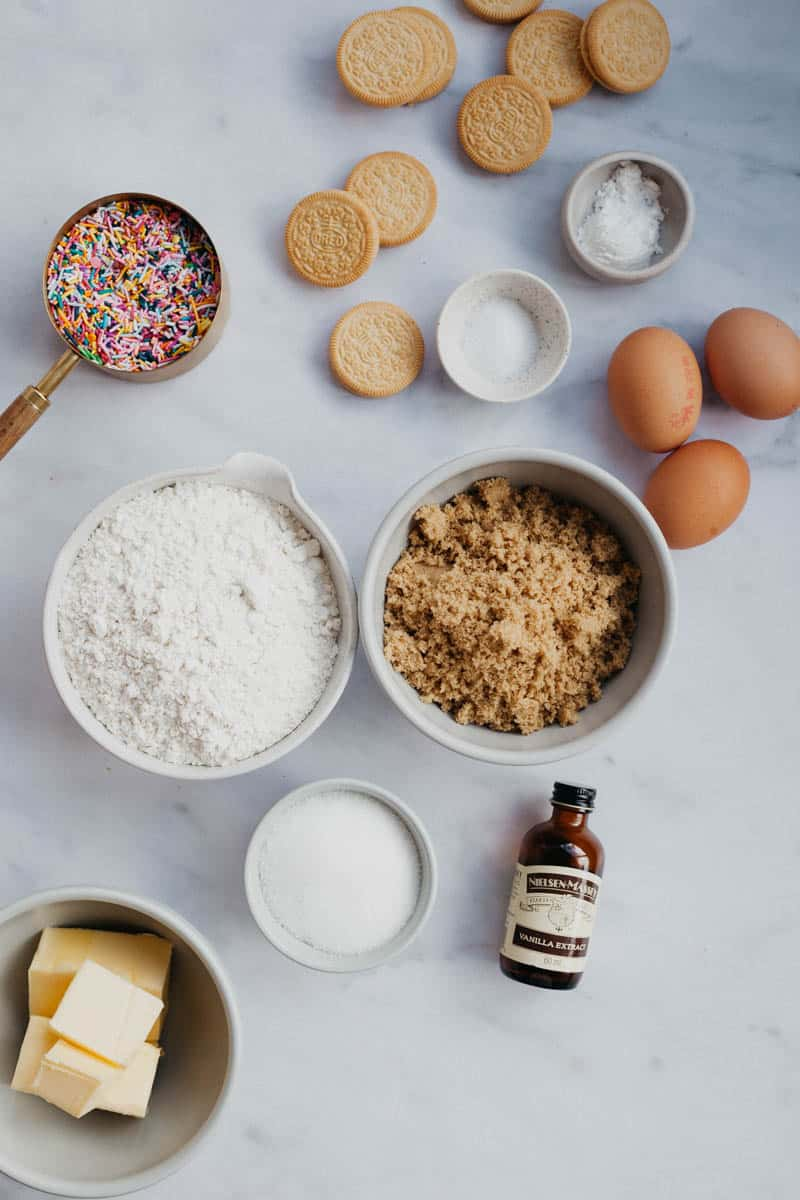 overhead shot of funfetti bar ingredients