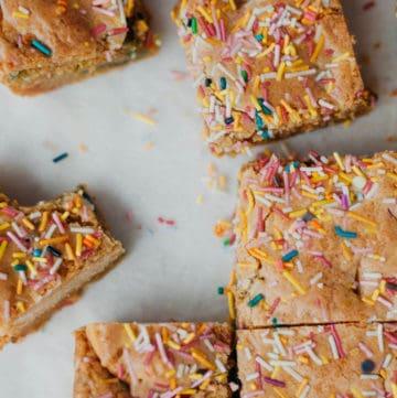 overhead shot of funfetti bars cut into squares