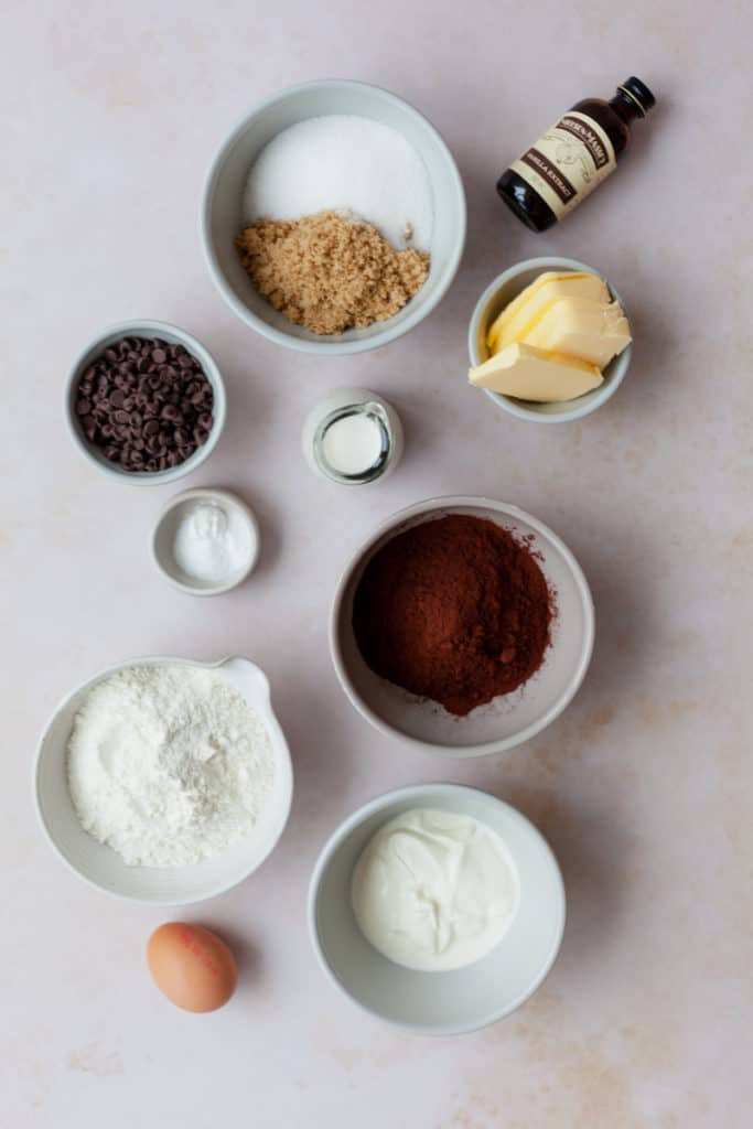 Overhead shot of ingredients for chocolate sour cream loaf