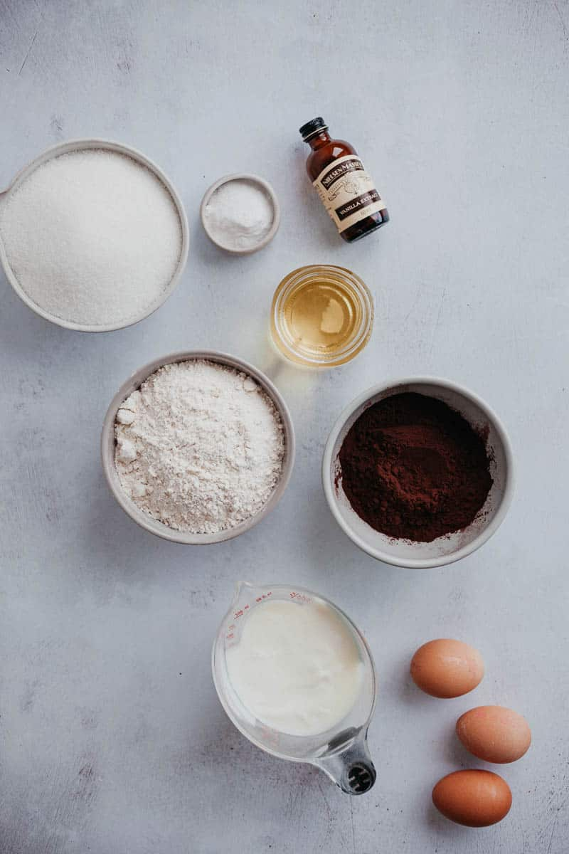 Overhead shot of ingredients for a chocolate cake