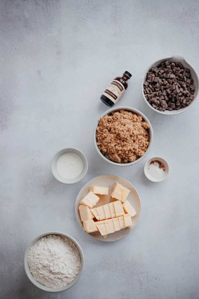 Overhead shot of ingredients for cookie dough