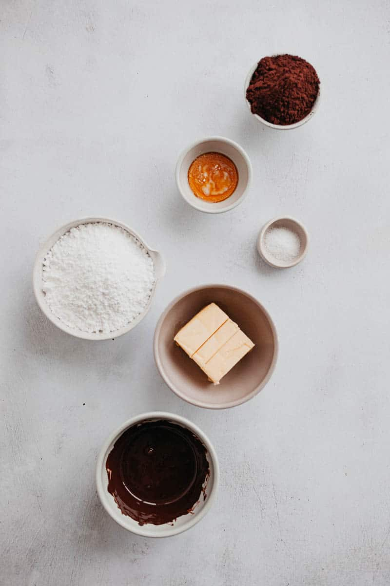 Overhead shot of ingredients for fudge frosting