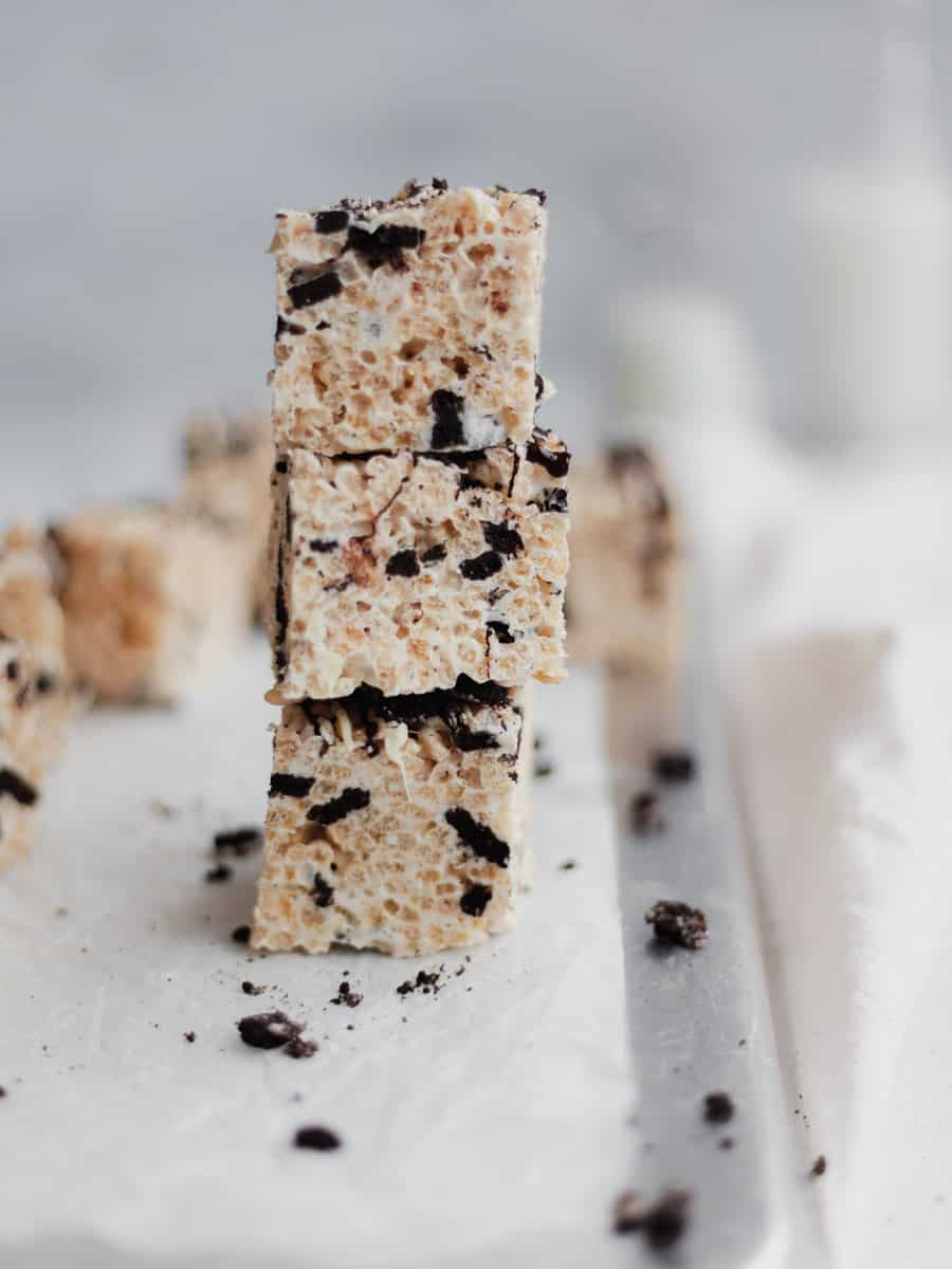 3 rice krispie treat bars stacked on top of each other