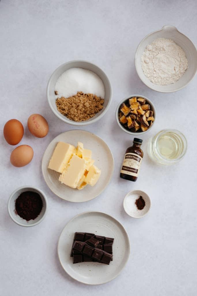 overhead shot of ingredients for honeycomb brownies