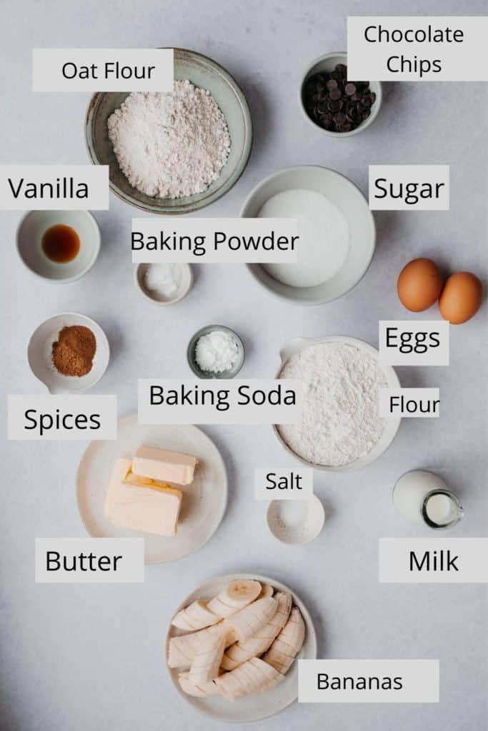 overhead shot of banana muffin ingredients