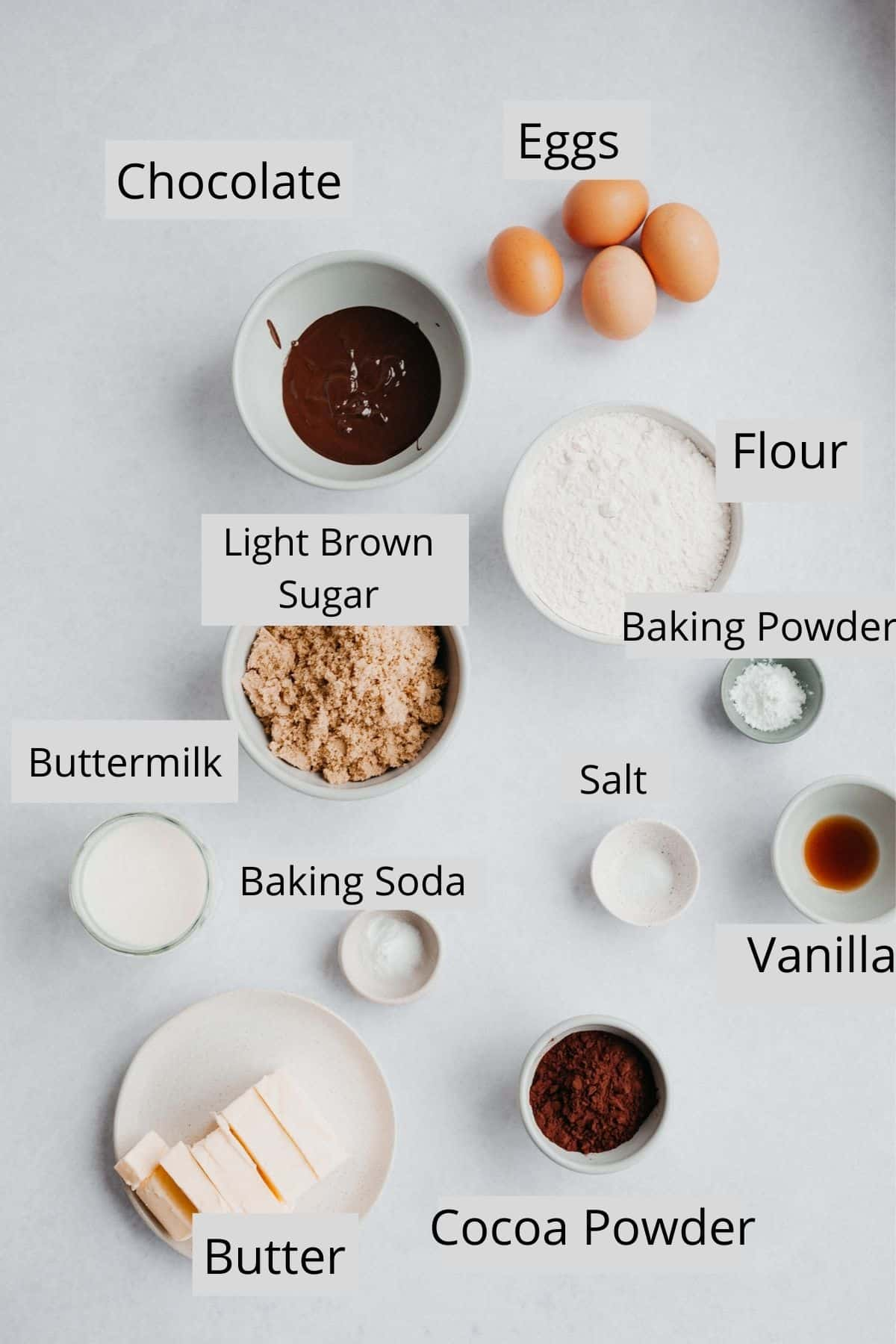 ingredients for a chocolate cake