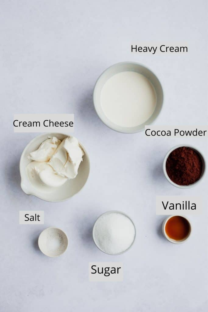 ingredients for chocolate cream cheese frosting