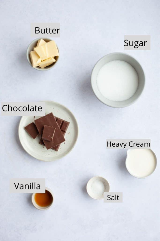 ingredients for salted caramel ganache