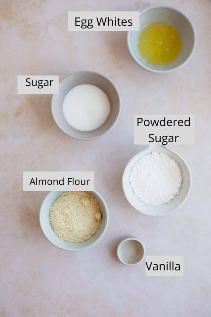 overhead shot of ingredients for macaron shells
