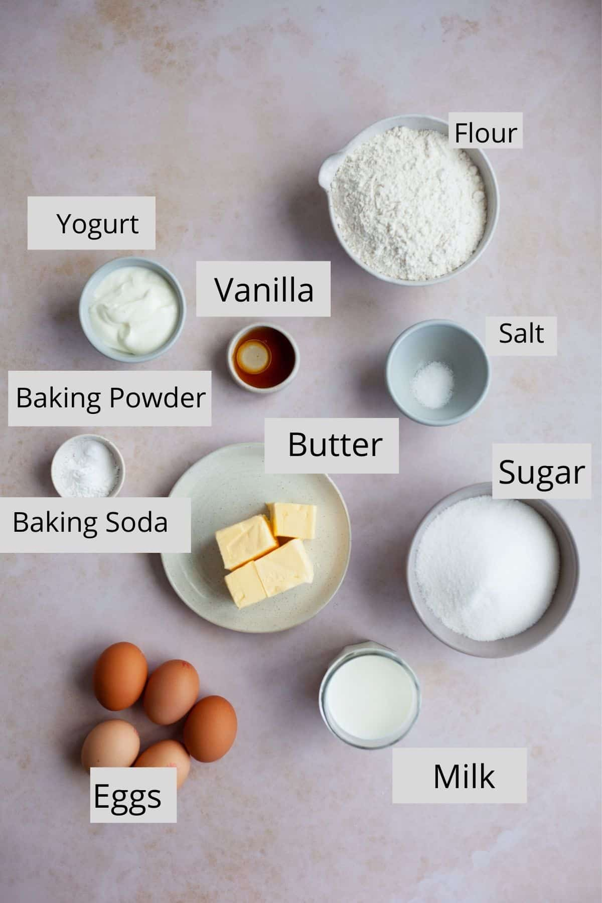 overhead shot of ingredients for a white cake