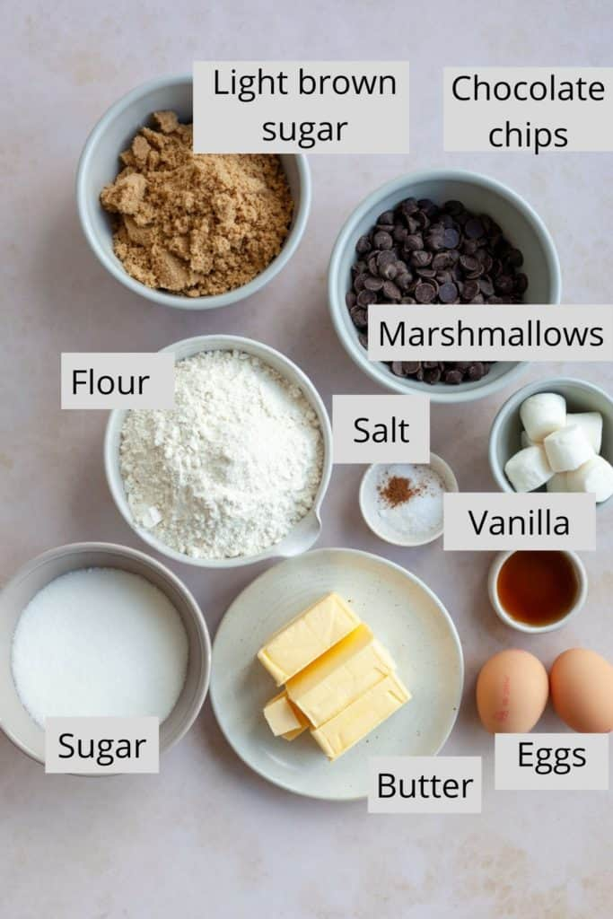 An overhead shot of ingredients needed for chocolate chip cookies