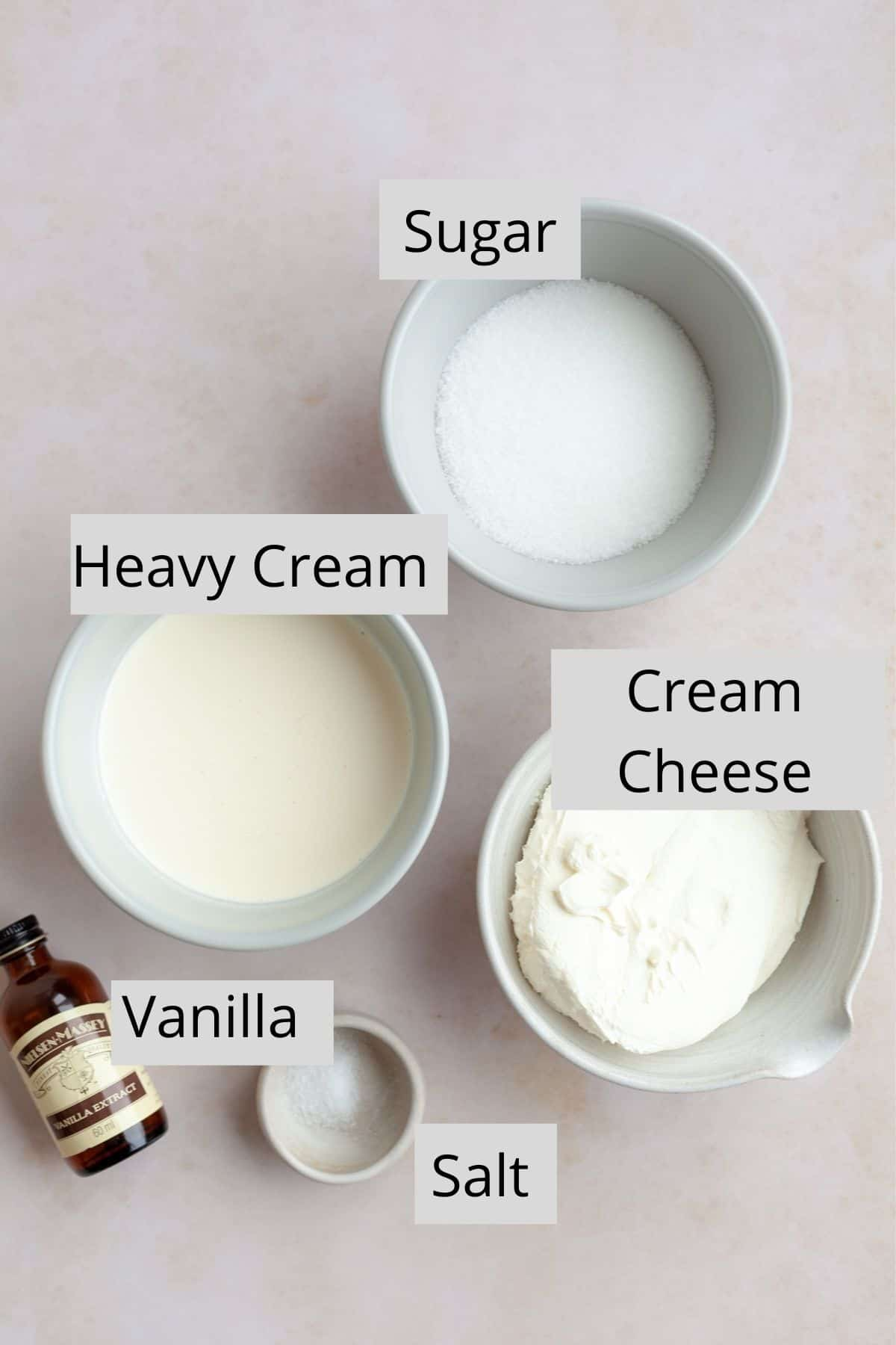 Overhead Shot of ingredients for cream cheese frosting