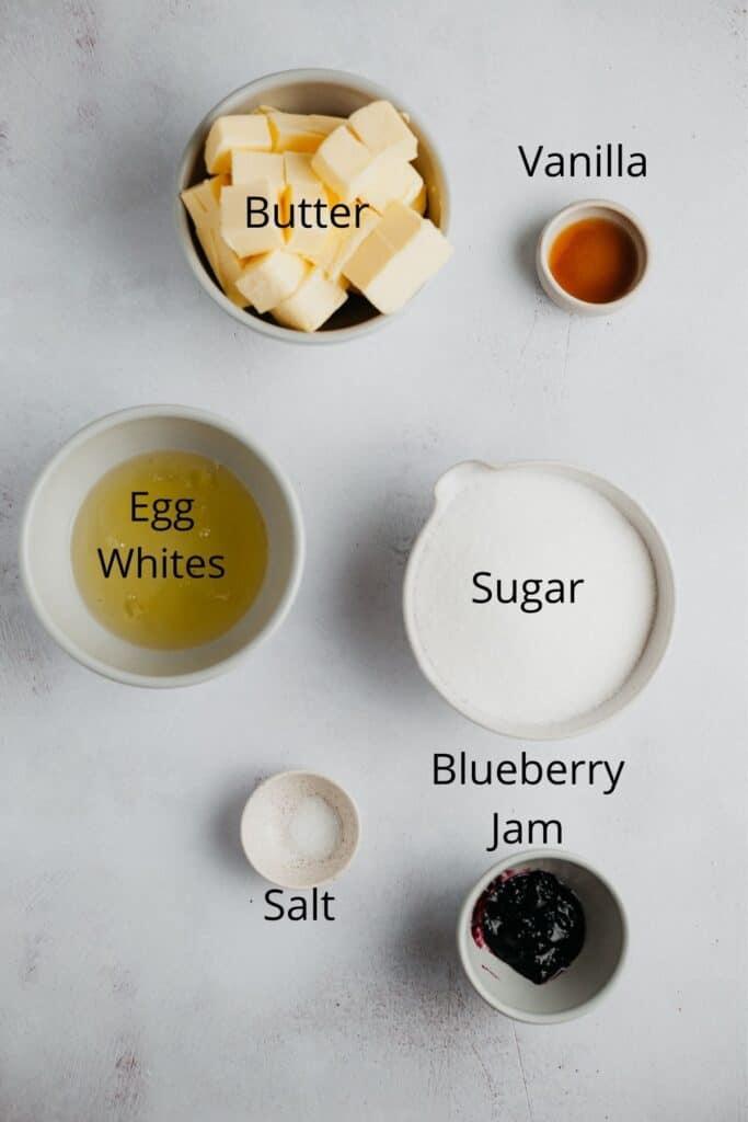 An overhead shot of Swiss meringue buttercream ingredients