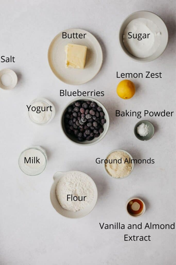An overhead shot of all the ingredients needed for a blueberry cake