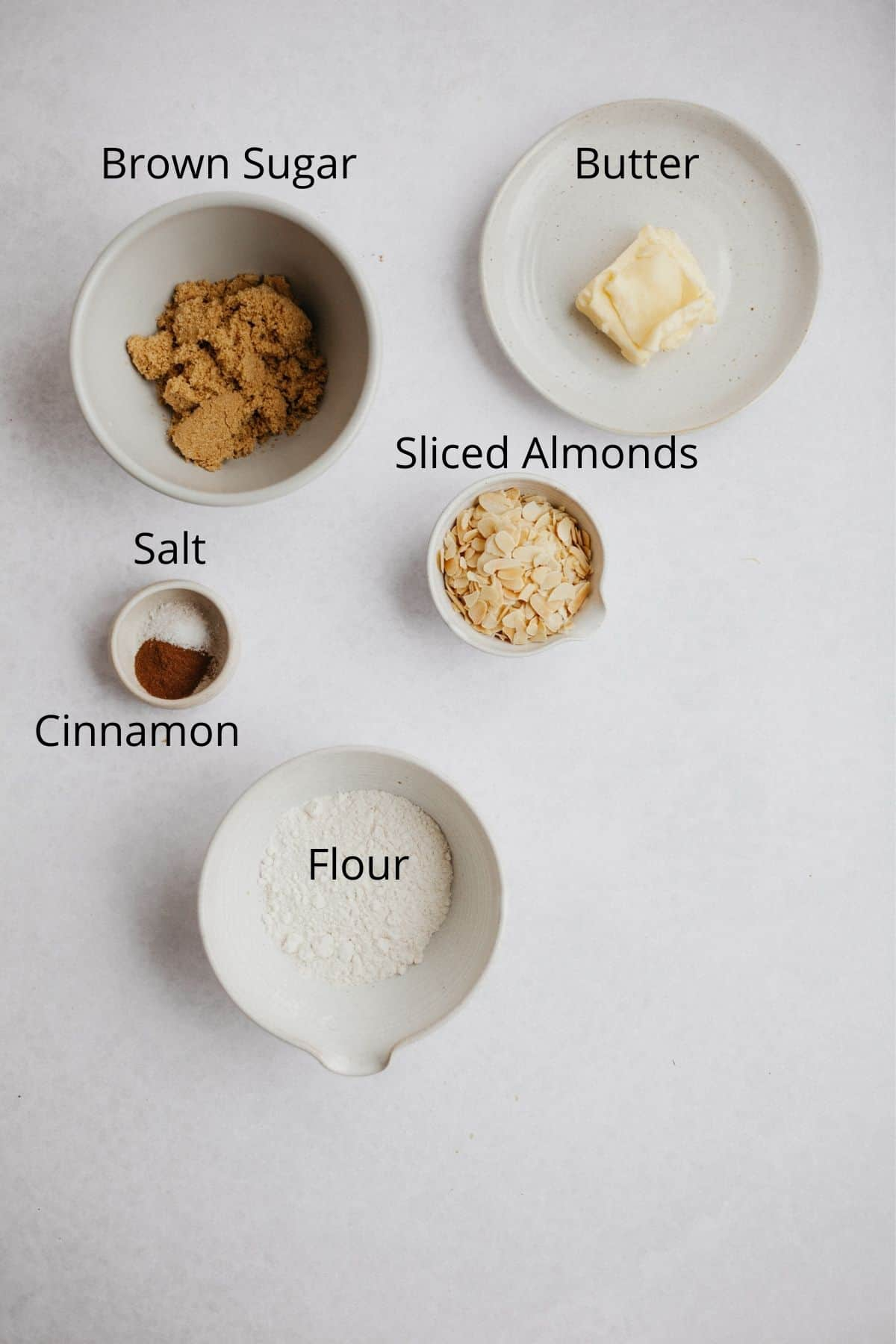 An overhead shot of the ingredients needed for a streusel topping