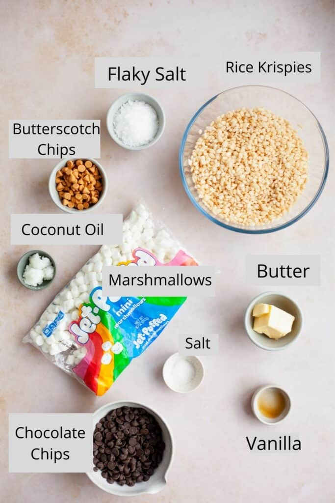 An overhead shot of the ingredients needed for chocolate covered rice krispie treats