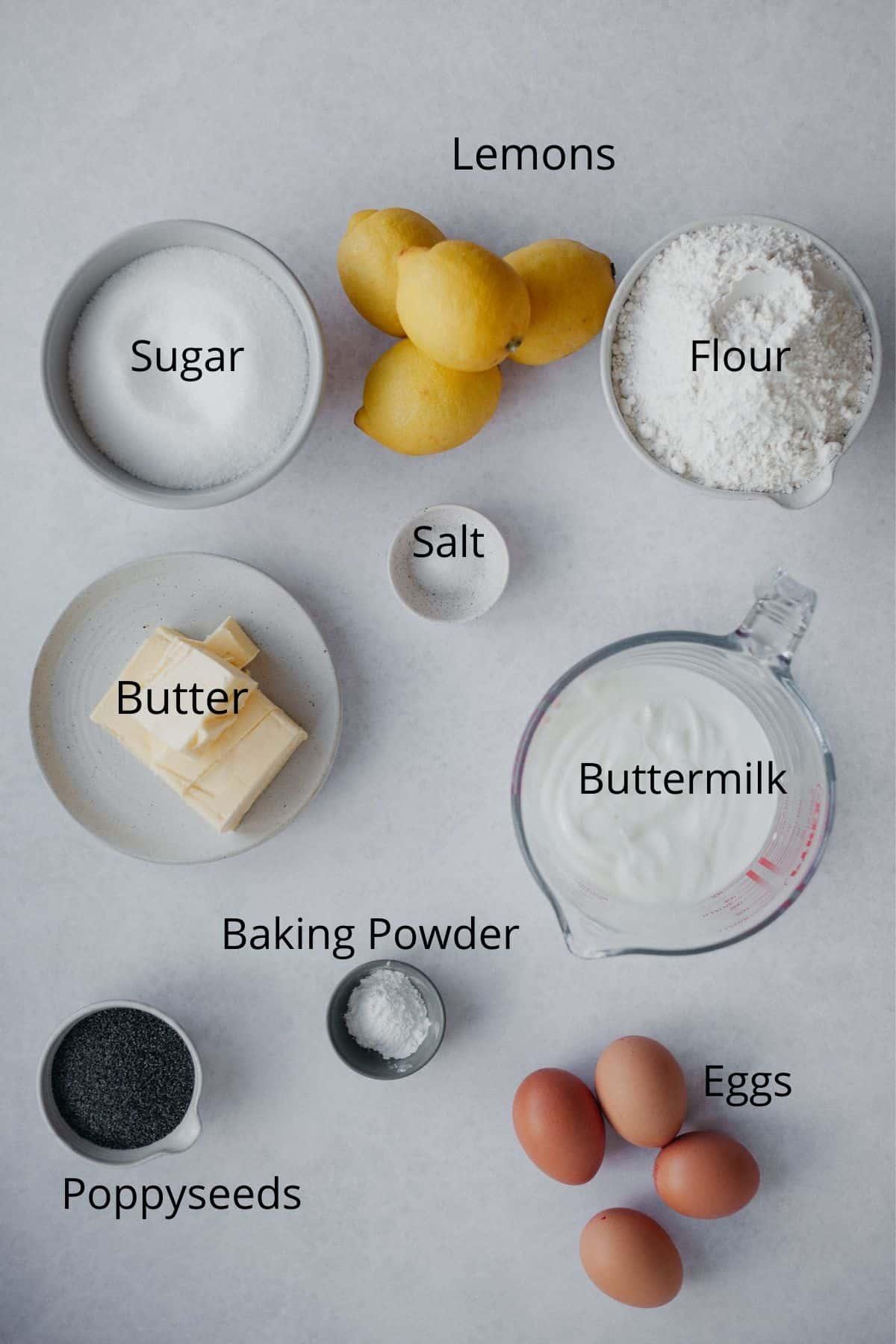 An overhead shot of ingredients needed for bundt cake