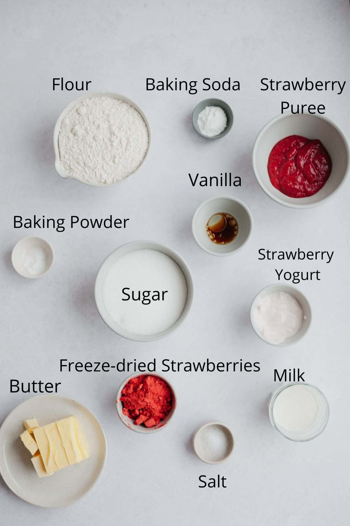 the ingredients needed for a strawberry layered cake