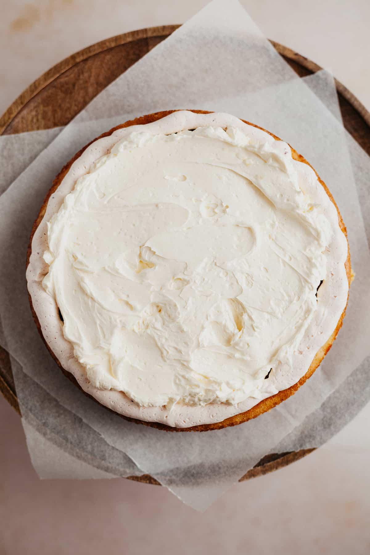 Overhead of vanilla cake filled with vanilla buttercream
