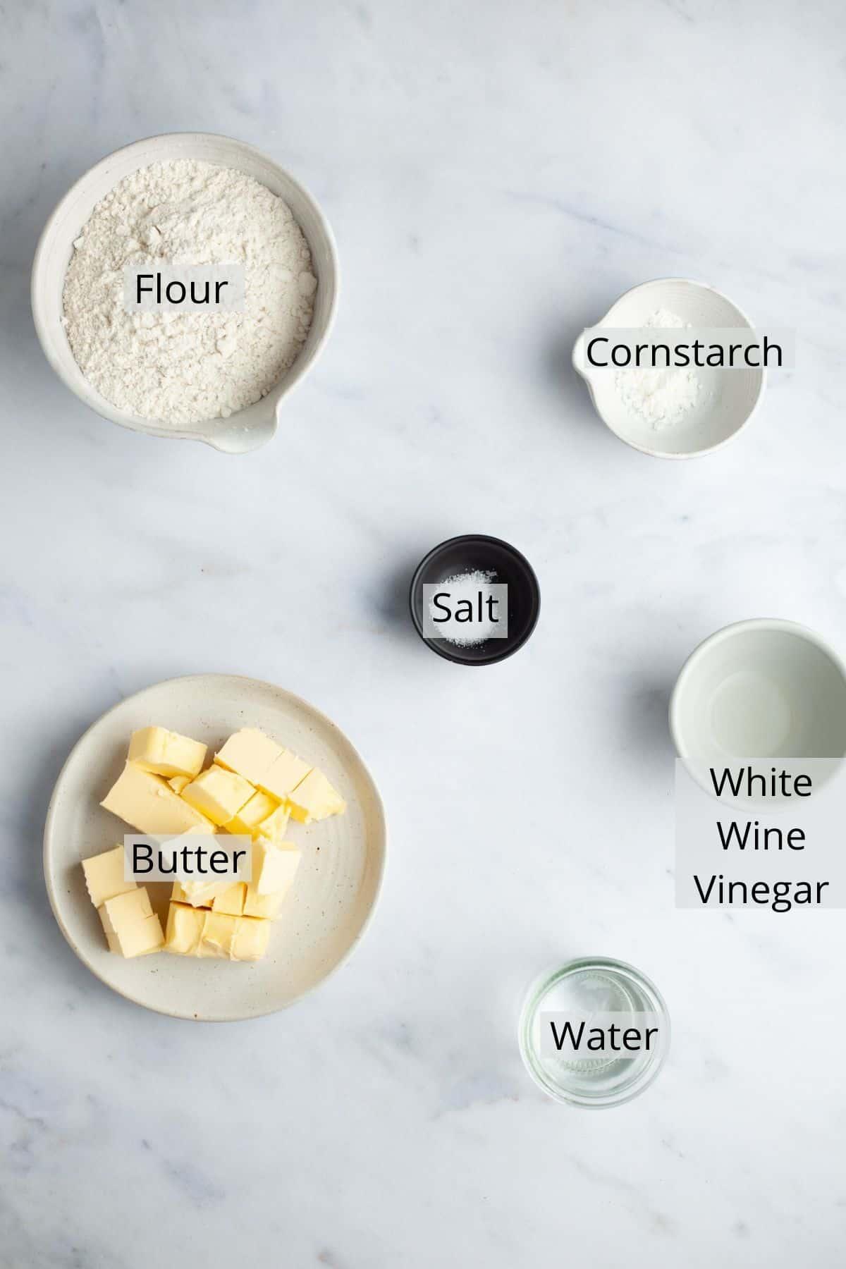 An overhead shot of pie dough ingredients