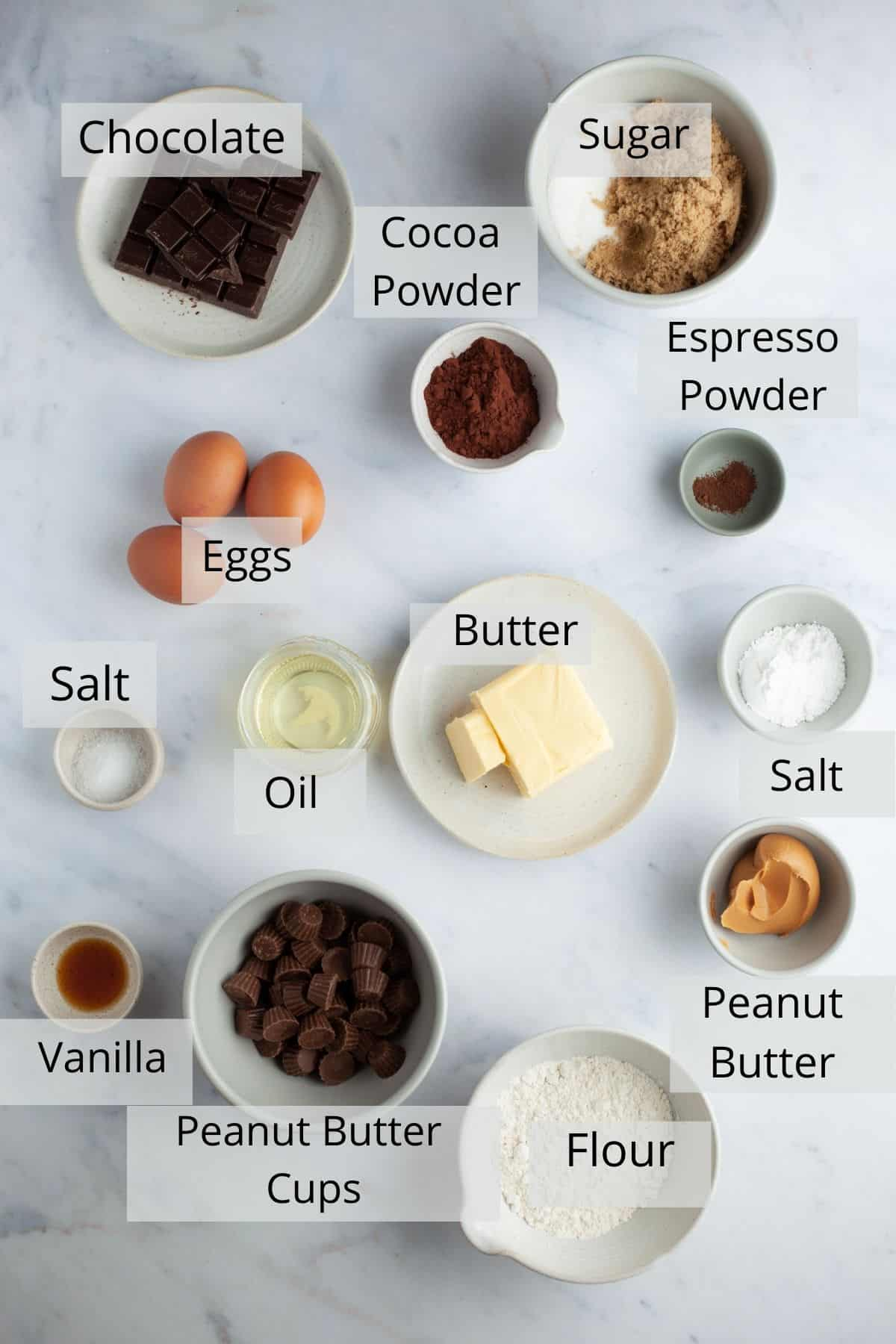 Overhead shot of ingredients for brownies