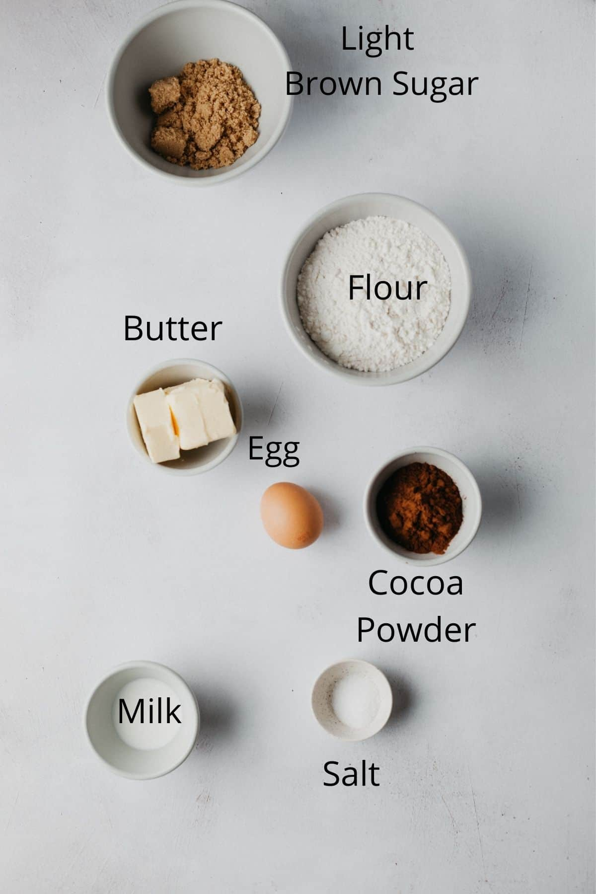 An overhead shot of the ingredients needed for chocolate pie crust