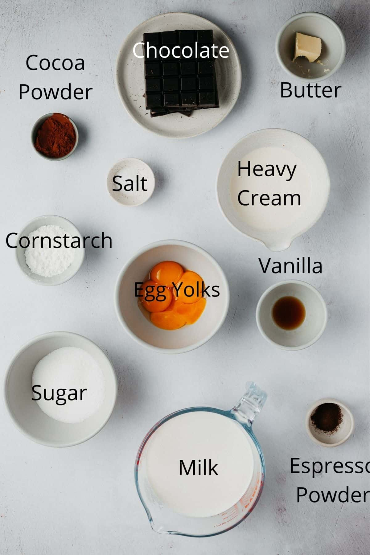 An overhead shot of the ingredients needed for chocolate custard