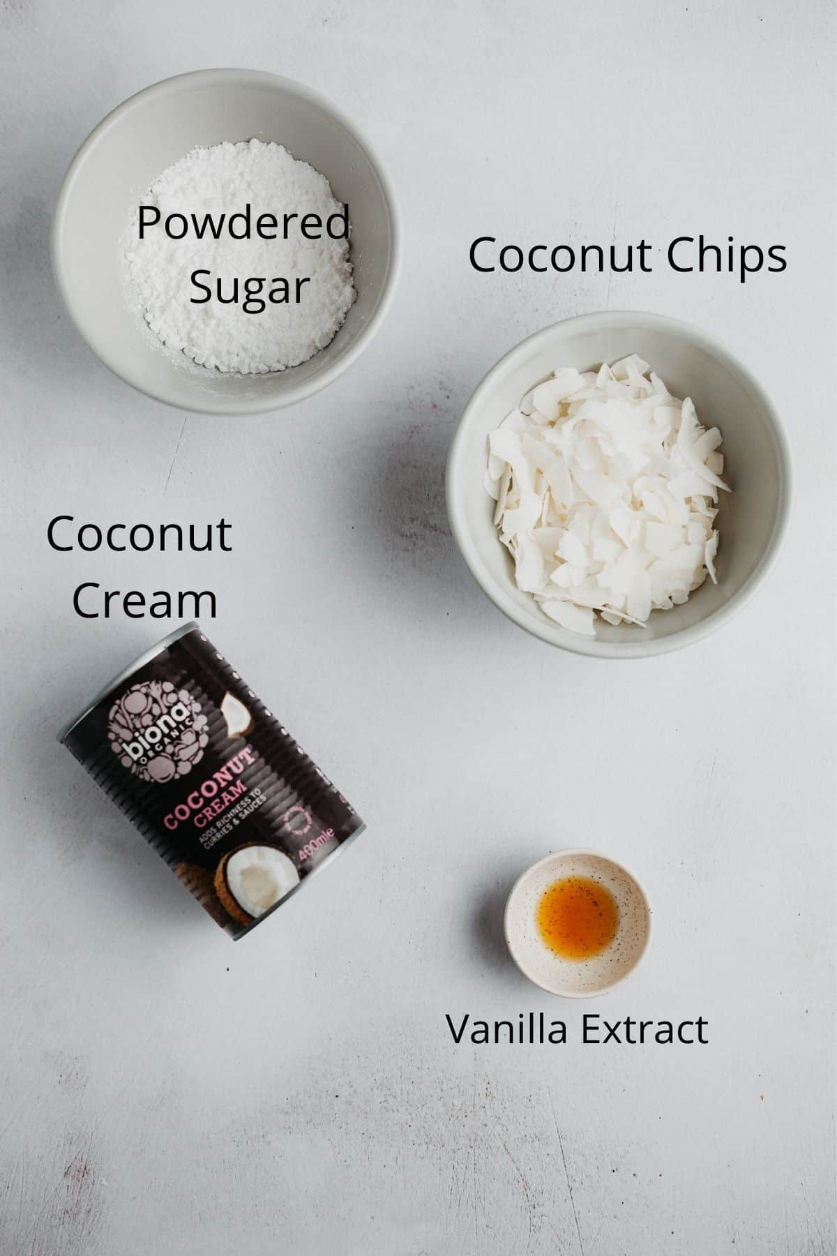 An overhead shot of the ingredients needed for coconut whipped cream