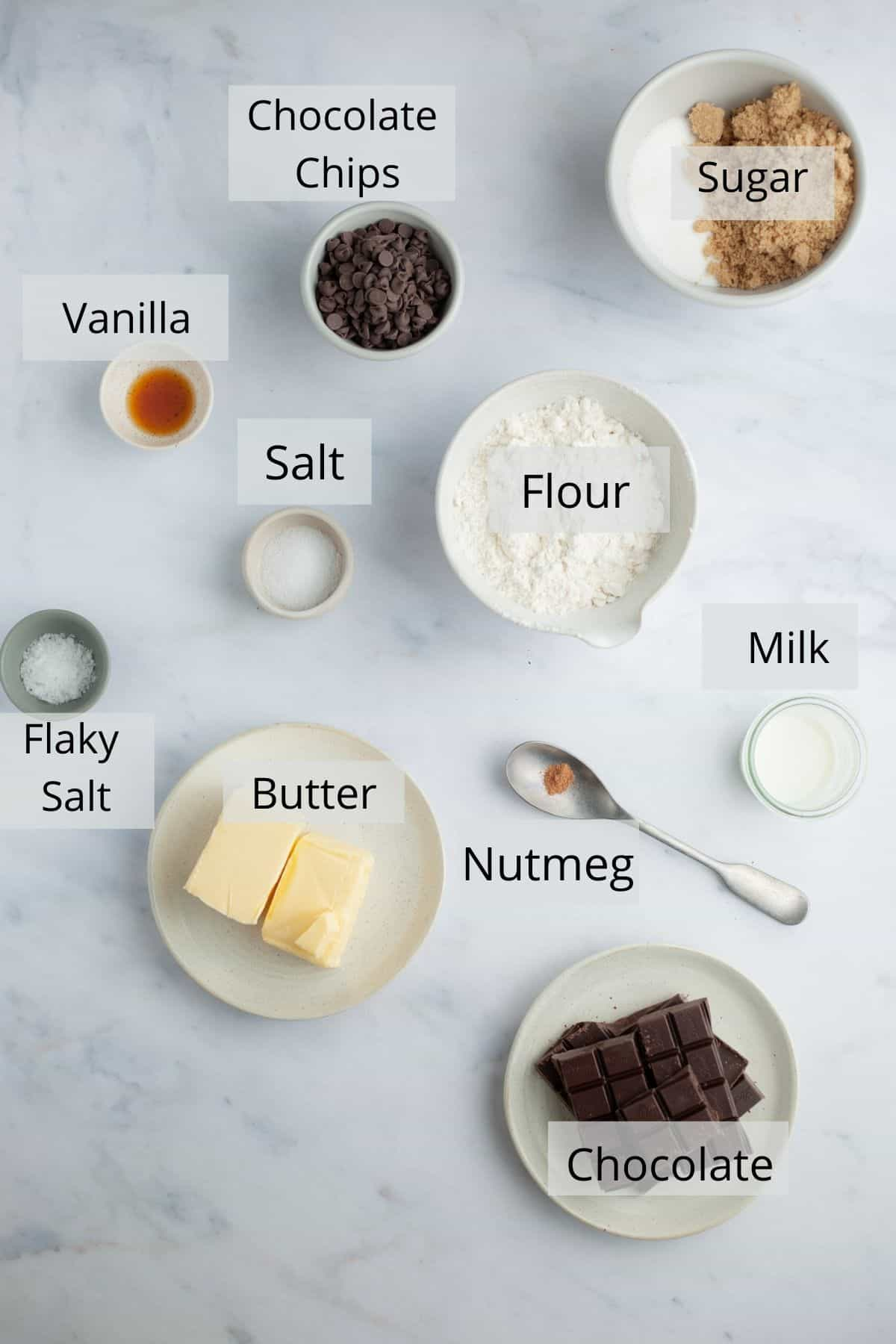 Overhead shot of ingredients for cookie dough bites dipped in chocolate