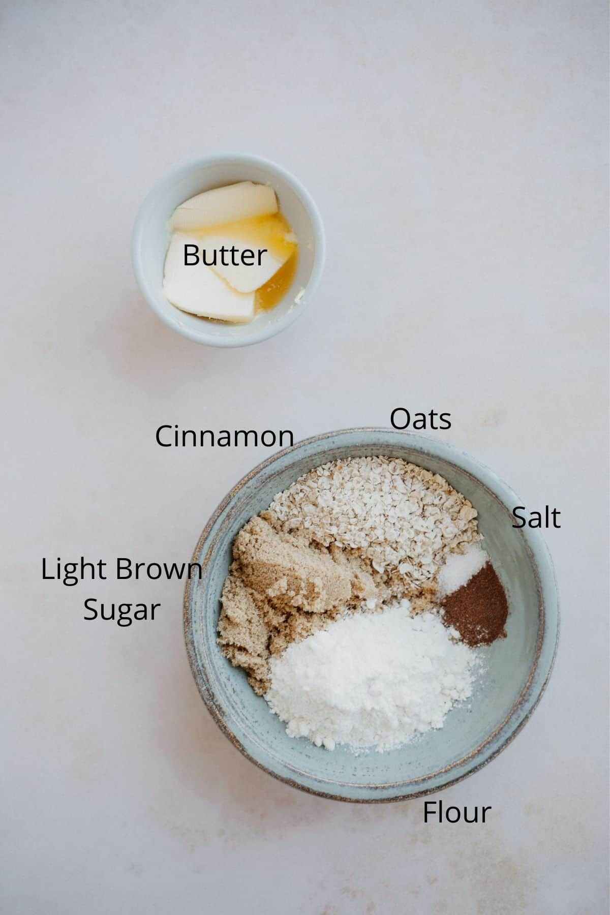 An overhead shot of the ingredients for a crumble topping