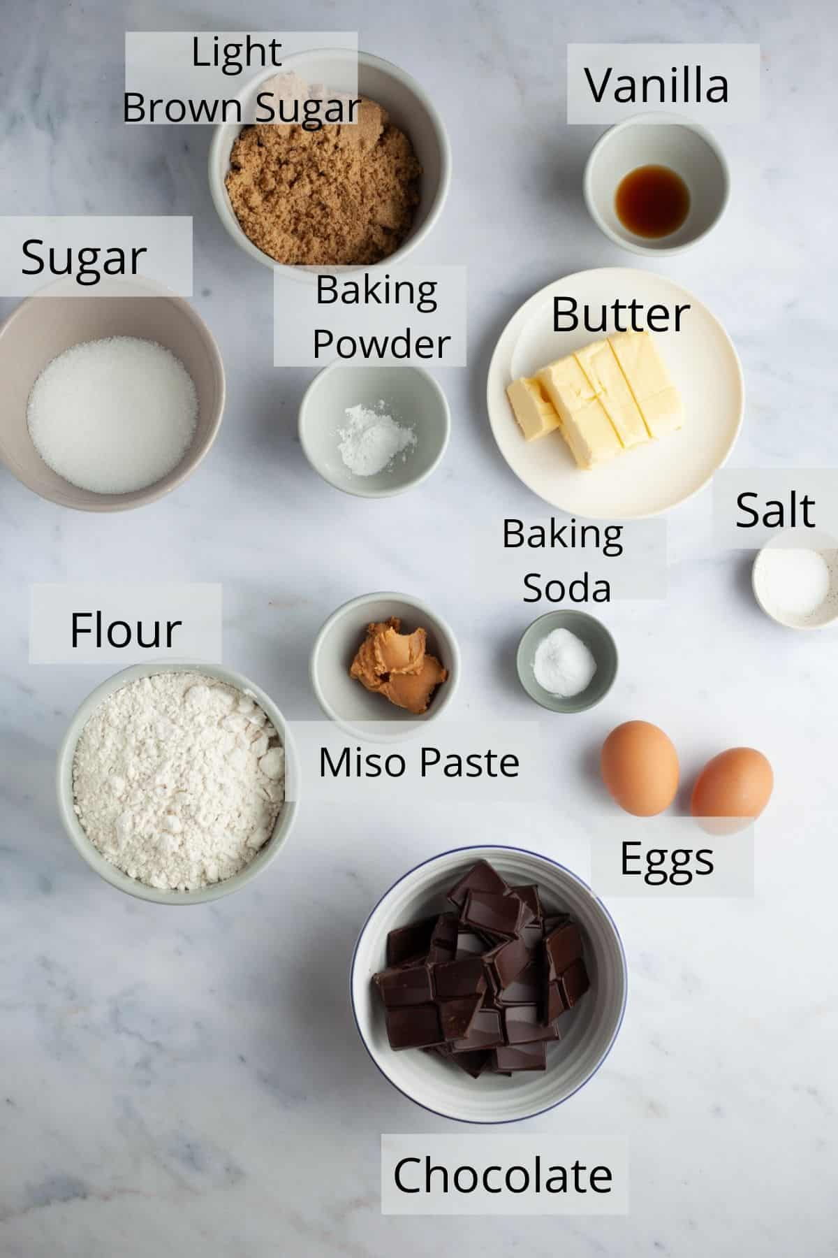 An overhead shot of ingredients for miso chocolate chip cookies