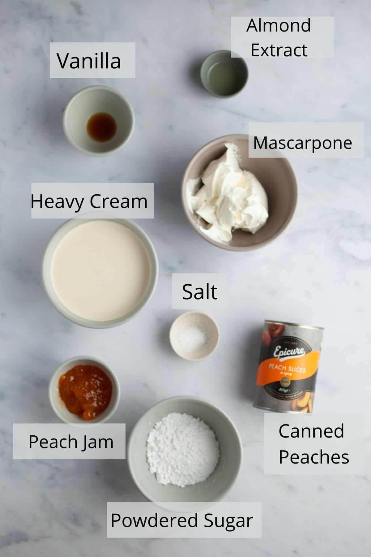 Overhead shot of ingredients needed for peaches and cream pie